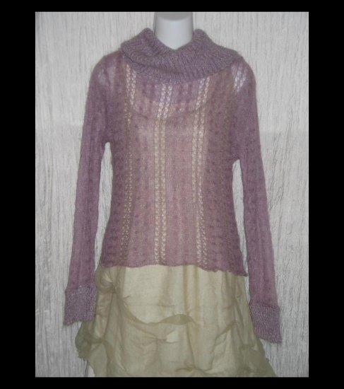 Kenzie Purple Open Knit Turtleneck Tunic Sweater Medium M