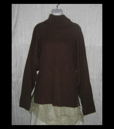 PERUVIAN TRADING Co. Brown Merino Wool Turtleneck Sweater Tunic Top OS