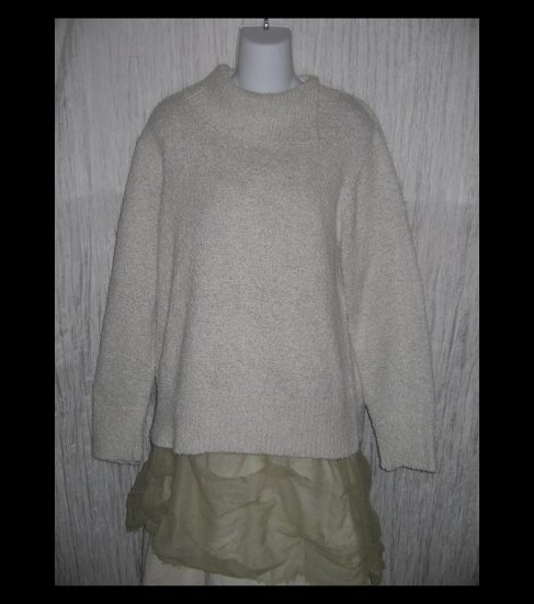 Coldwater Creek Speckled White Nubby Knit Turtleneck Tunic Sweater X-Large XL