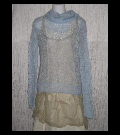 Kenzie Soft Blue Open Knit Mohair Turtleneck Sweater Tunic Top Small Petite SP