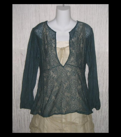 New York & Company Jewel Blue Lace Knit Tunic Top Shirt Large L