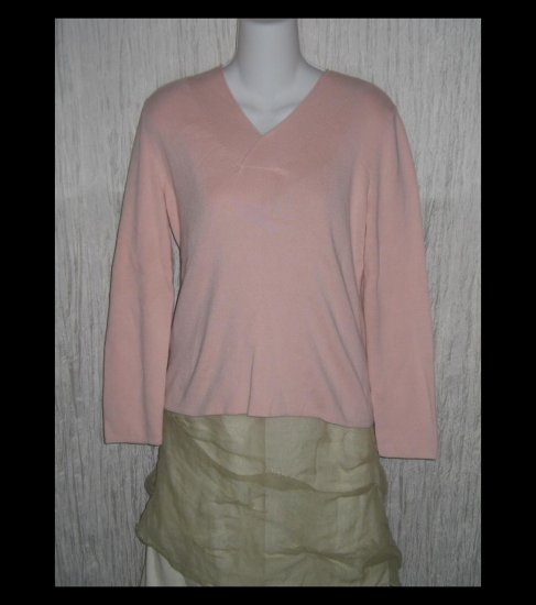 New J.  Jill Soft Pink Cotton Knit Pullover Tunic Top Medium M