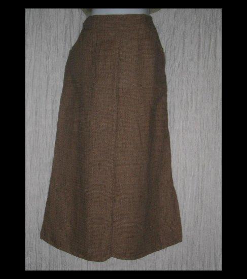 New FLAX Long Chocolate Tweed Linen Pocket Skirt Jeanne Engelhart Medium M