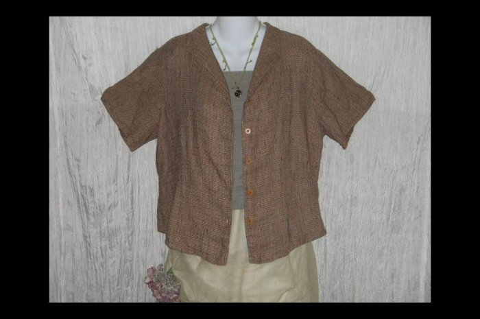 New FLAX Chocolate Tweed Shapely Linen Button Tunic Top Jeanne Engelhart Small S
