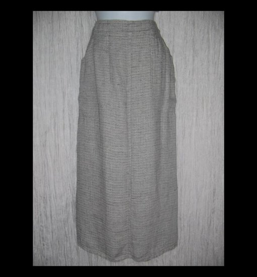 New FLAX Long Black & White Tweed Linen Pocket Skirt Jeanne Engelhart Small S