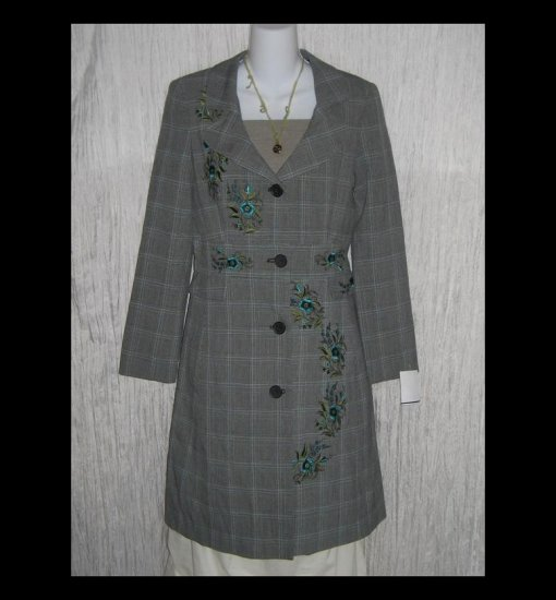 New New York & Company Long Embroidered Plaid Shapely Jacket Over Coat 4