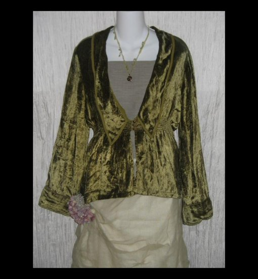 April Cornell Soft Draping Moss Green Velvet Lotus Jacket Medium M