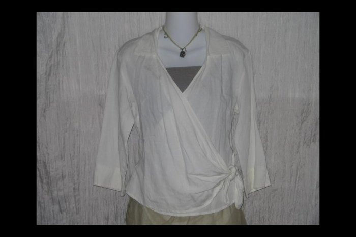 J. JILL Soft White Textured LINEN Wrap Tie Jacket Shirt Top 6