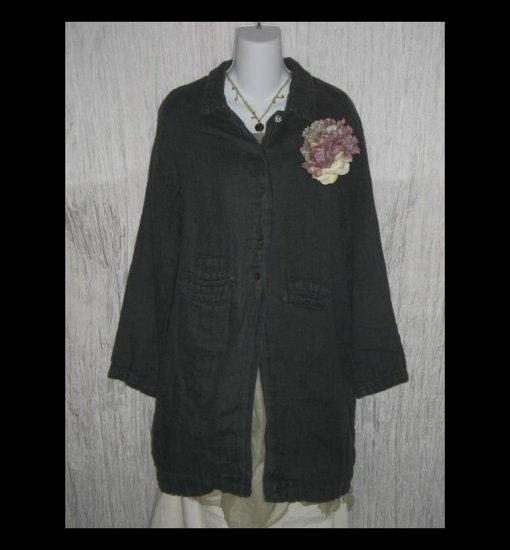 KRISTA LARSON Gray Linen Lagenlook Selvedge Coat Jacket One Size