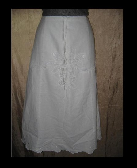 Richard Malcolm White Battenburg Lace Linen Drawstring Skirt Size 14