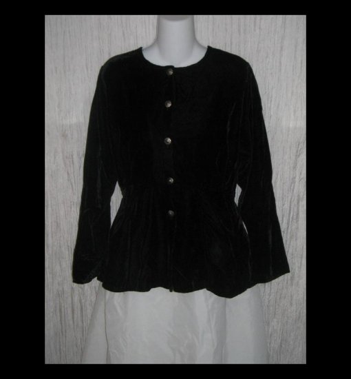 Angelheart Designs by Jeanne Engelhart Shapely Black Velvet Tunic Top Jacket FLAX P