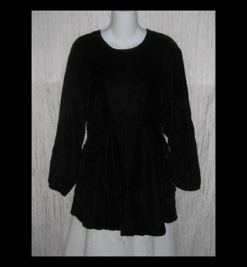 Angelheart Designs by Jeanne Engelhart Shapely Long Black Velvet Tunic Top Shirt FLAX P
