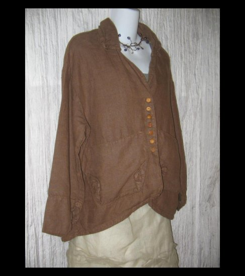KRISTA LARSON Heavy Brown Linen Twisted Corners Jacket Coat One Size