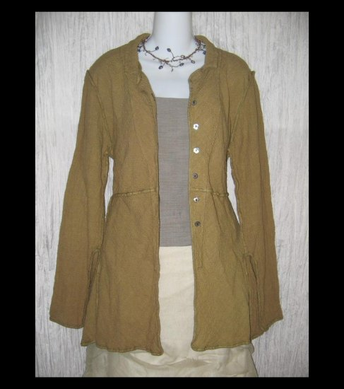 Cynthia Ashby Shapely Puckered Linen Rayon Jacket Tunic Top Small S