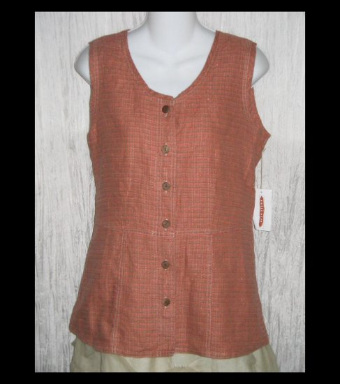 New SOLITAIRE Shapely Salmon Tweed Linen Tunic Top Shirt Engelhart FLAX Small S