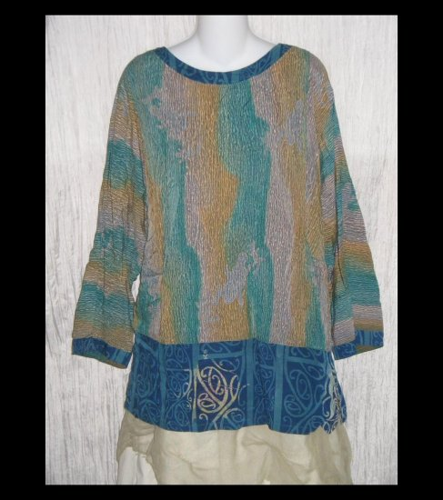 KUSNADI Long Loose Blue Rayon Batik Tunic Top Shirt One Size