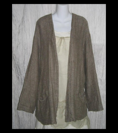 FLAX by Jeanne Engelhart THERMAL Cardigan Jacket Top Large L
