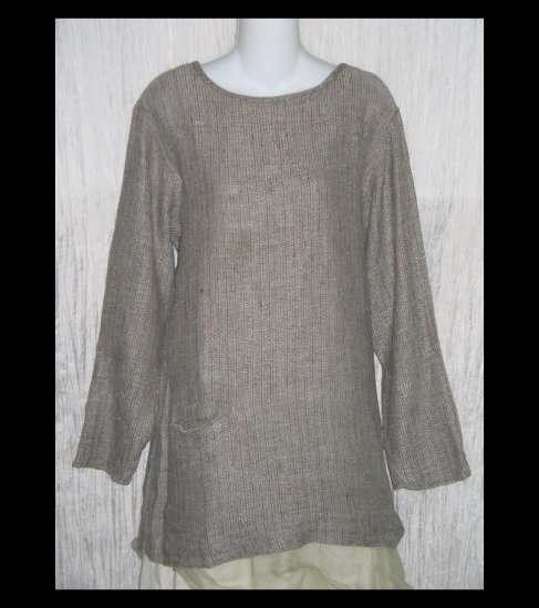 FLAX by Jeanne Engelhart Long Brown Thermal Linen Pocket Tunic Top Shirt Small S