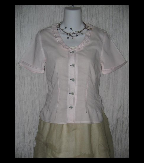 SOLITAIRE Shapely Pink Cotton Button Top Shirt Engelhart FLAX X-Small XS