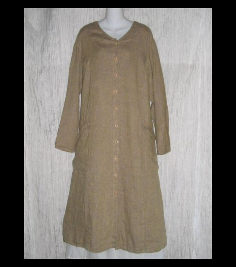 New Flax Shapely LINEN Duster Dress Jacket Jeanne Engelhart 1G