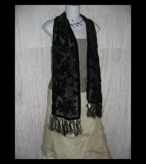 Elegant Finged Rich Floral Velvet Burnout Art to Wear Scarf