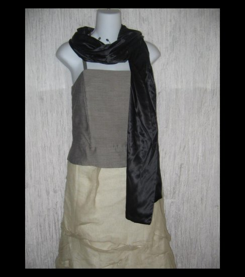 New Cejon Elegant Black Silk Lagenlook Art to Wear Scarf Wrap
