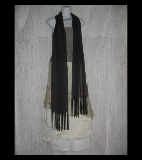 New Laura Ashley Gossamer Black Fringed Art to Wear Scarf