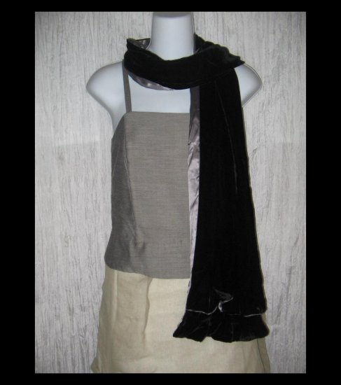 New Charter Club Elegant Black Silk Velvet Ruffled Art to Wear Scarf