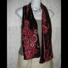 NEW Nine West Elegant Burgundy Velvet Beaded Floral Art to Wear Scarf