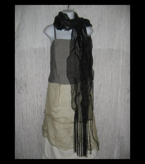 New Collection XIIX Gossamer Black Gathered Nylon Art to Wear Scarf