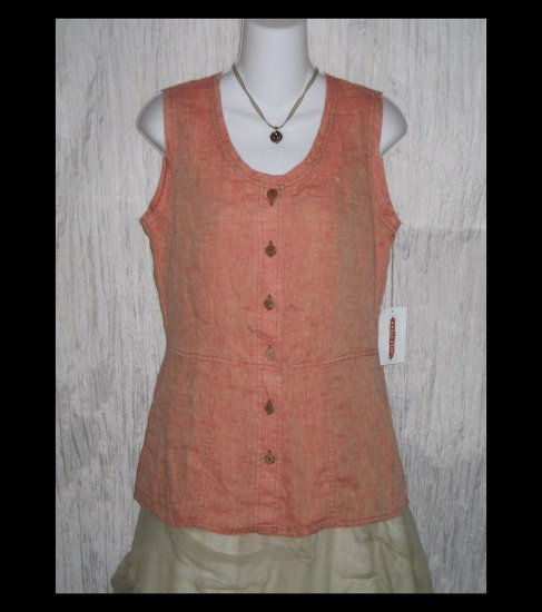New SOLITAIRE Shapely Sherbert Linen Tunic Top Shirt Engelhart FLAX Small S