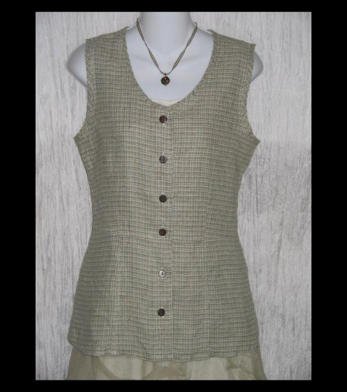 New SOLITAIRE Shapely Sage Tweed Linen Tunic Top Shirt Engelhart FLAX Medium M