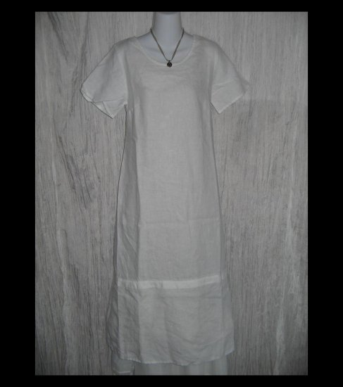 New Jeanne Engehart FLAX Long White Linen Dress Small S