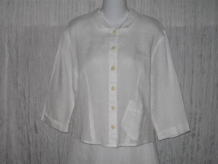 New FLAX Shapely White Linen Button Shirt Tunic Top Engelhart S