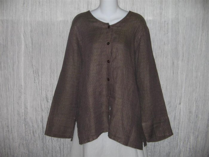 New FLAX Chocolate Herringbone Long Linen Button Tunic Top Engelhart S
