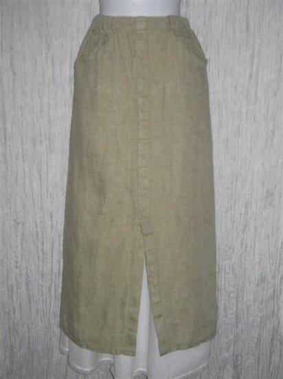 FLAX by Jeanne Engelhart Long Green Linen Pocket Skirt Small S