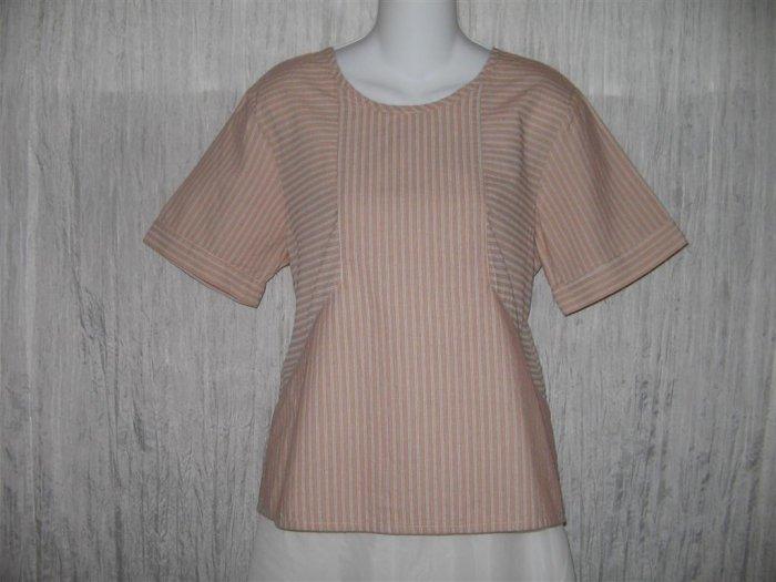 New FLAX Orange Stripe Textured Cotton Pullover Tunic Top Shirt Engelhart Small S
