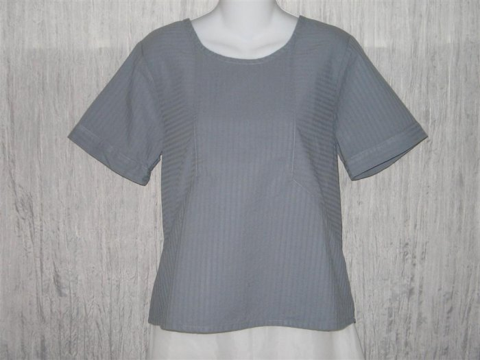 New FLAX Blue Gray Textured Cotton Pullover Tunic Top Shirt Engelhart Small S