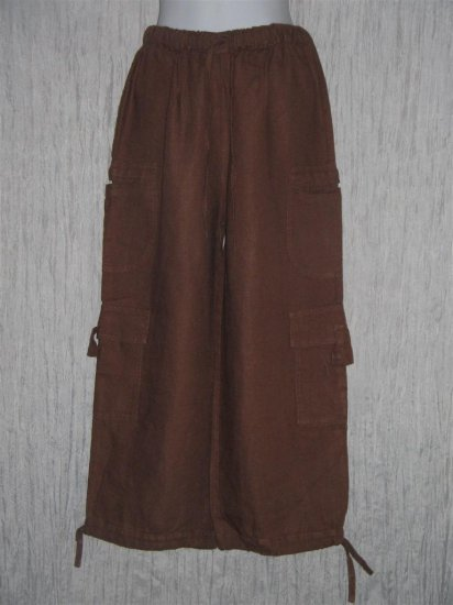 New FLAX Cropped Brown Linen Cargo Floods Pants Jeanne Engelhart Small S