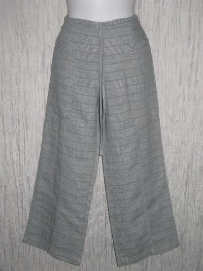 New Solitaire Blue Textured Linen Drawstring Pants Small S