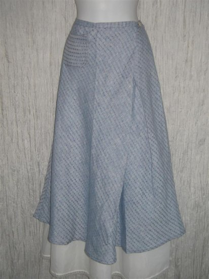 New Solitaire Shapely Blue Linen Lagenlook Wrap Front Skirt S