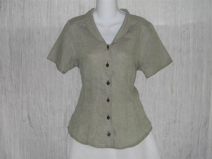 New SOLITAIRE Shapely Green Linen Crossweave Shirt Top Large L