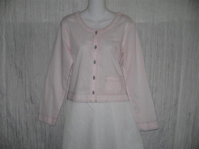 SOLITAIRE Pink Cotton Button Jacket Shirt Top Medium M