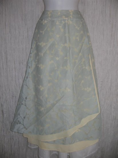 J. Jill Long Soft Blue Layered LINEN Floral Lace Skirt 6