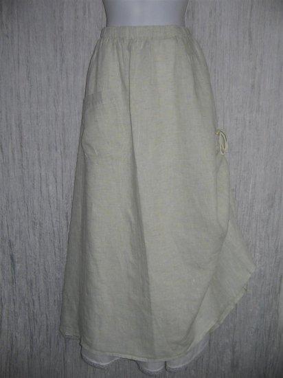 New FLAX Long & Full LINEN Ruched Skirt Jeanne Engelhart Large L