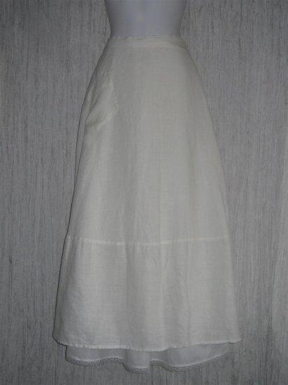 FLAX Long & Full White LINEN Skirt by Jeanne Engelhart Large L