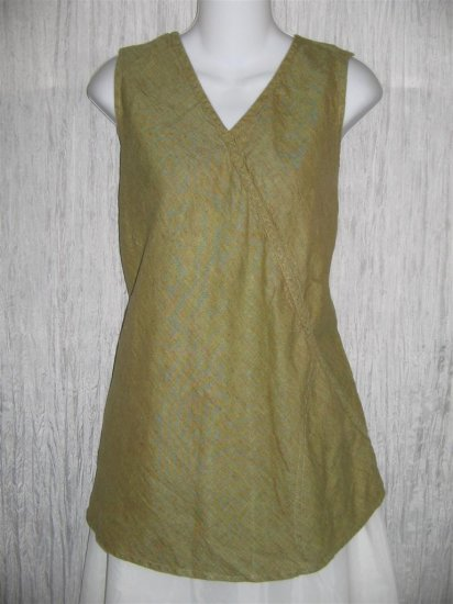FLAX by Jeanne Engelhart Linen Diagonal Pocket Shirt Tunic Top Large L