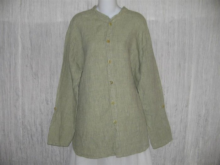 Jeanne Engelhart FLAX Green Grid Linen Button Tunic Top Shirt M