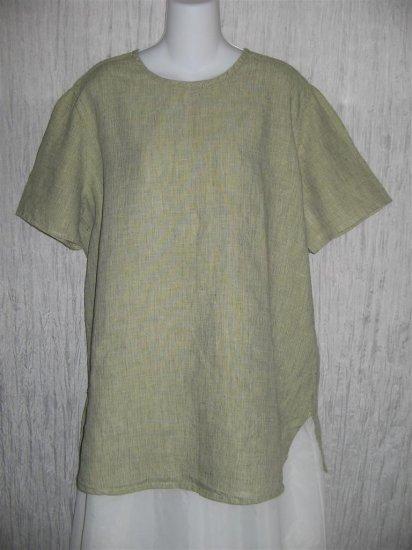 Jeanne Engelhart FLAX Green Grid Linen Pullover Tunic Top Shirt M