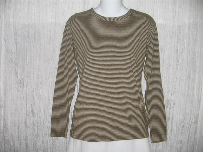 FLAX by Jeanne Engelhart Striped Knit Tunic Top Shirt Small S